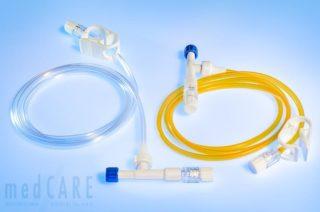 Neonatologisches Überleitungset mit autom. Ventil (gelb in Lichtschutz)