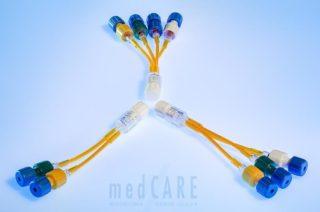 Neonatologische Y-Verbinder lichtgeschützt mit integrierten Rückschlagventilen (2-fach, 3-fach, 4-fach)